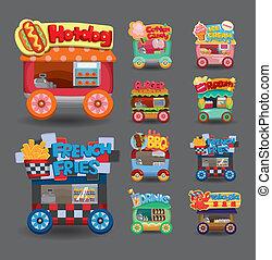 autó, gyűjtés, piac, karikatúra, bolt, ikon