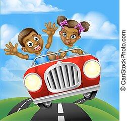 autó, gyerekek, karikatúra, vezetés