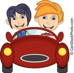 autó, gyerekek, vezetés, karikatúra