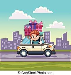 autó, gyerekek, vezetés, tehetség