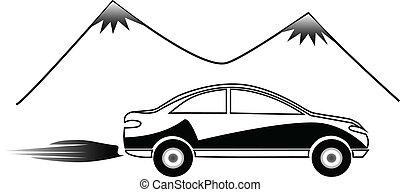 autó, gyorsan, jel