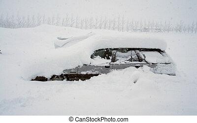 autó, hó