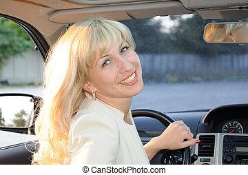 autó, hölgy
