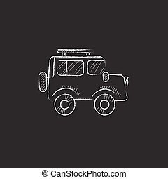 autó., húzott, alatt, kréta, icon.