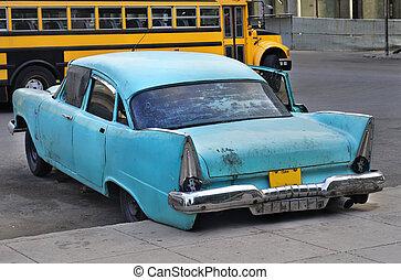 autó, havanna, öreg, utca