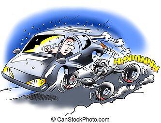autó, hiányos, fék
