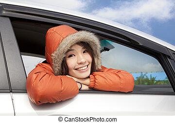 autó, hord, nő, tél, fiatal