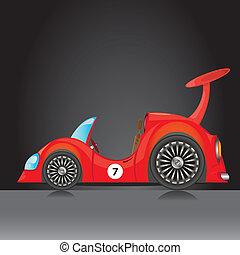 autó, icon., vektor, piros