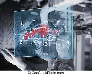autó, időz, reparing, szerelő, lookin