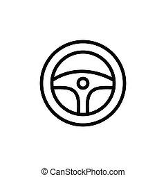 autó, ikon, gördít, ábra, vektor, grafikus, kormányzó