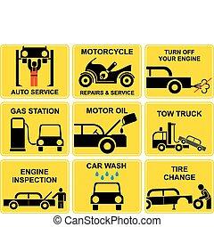 autó, ikonok, -, szolgáltatás, autó