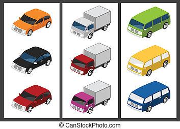 autó, isometric, állhatatos