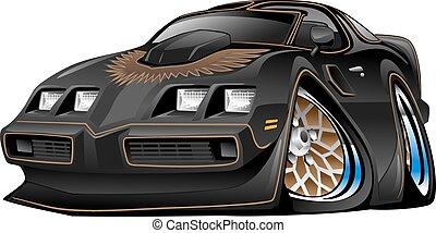 autó, izom, fekete, karikatúra, klasszikus