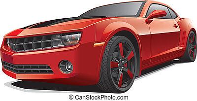 autó, izom, piros