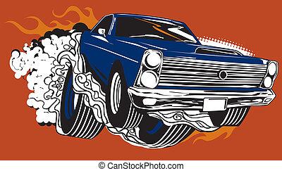 autó, izom, smokin