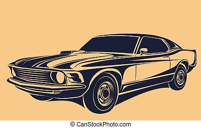 autó, izom, vektor