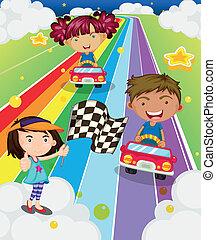 autó, játék, versenyzés, három, gyerekek