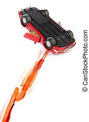 autó, játékszer, baleset