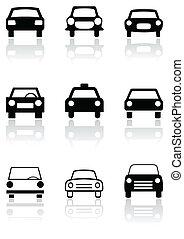 autó, jelkép, aláír, vektor, vagy, út, set.