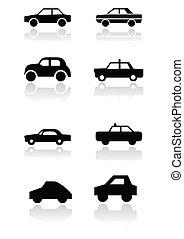 autó, jelkép, vektor, set.