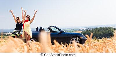 autó, joyride, maradék, átváltható, birtoklás, nők