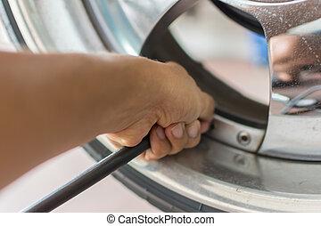 autó, kényszer, levegő, autógumi, kéz