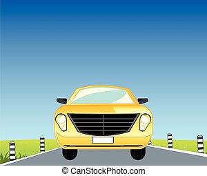 autó, képben látható, út