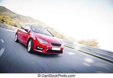 autó, képben látható, egy, út, tele, közül, veszélyes,...
