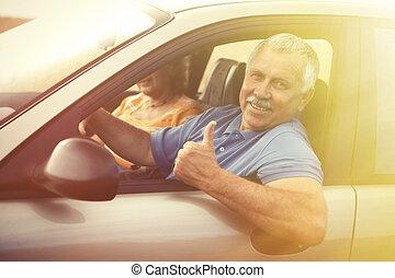 autó, két, öregedő emberek