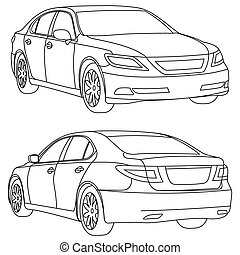 autó, két, hát, vektor, eleje kilátás