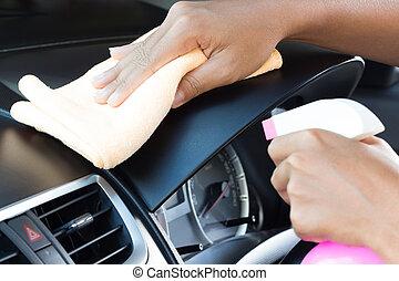 autó, kéz, closeup, műszerfal, karbantartás