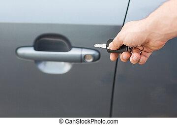 autó, kívül, kulcs, ember