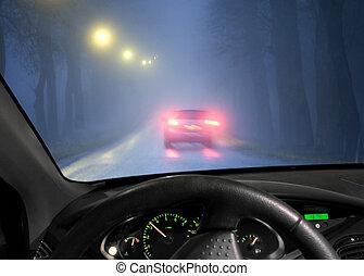 autó, köd