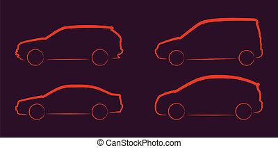 autó, körvonal