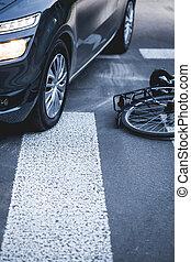 autó, Következő, gyalogos, Bicikli, átkelés, fekvő