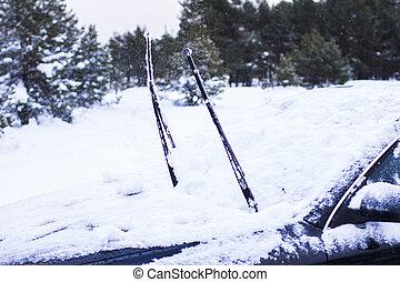 autó, közelkép, fogalom, -, hó