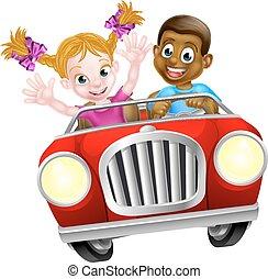 autó, karikatúra, betűk, vezetés