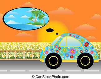 autó, karikatúra, ember