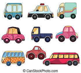 autó, karikatúra, ikon