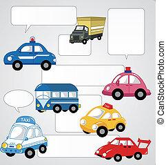 autó, karikatúra, kártya