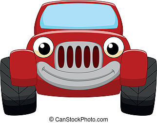 autó, karikatúra, piros