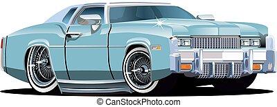 autó, karikatúra, retro