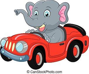 autó, karikatúra, vezetés, elefánt
