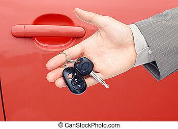 autó, keys.