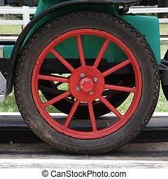autó, klasszikus, piros, weel
