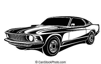 autó, klasszikus, vektor