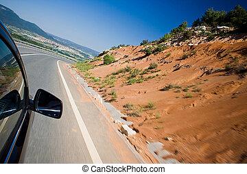 autó, kocsikázás gyorsan, képben látható, egy, út