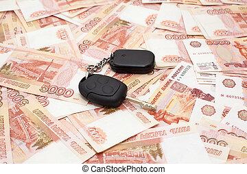 autó kulcs, képben látható, pénz, cashnotes, háttér