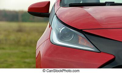 autó, lámpa, első lámpa, copyspace, új