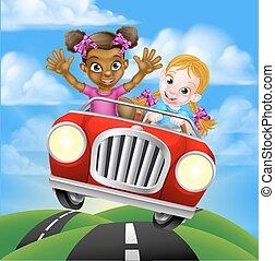 autó, lány, karikatúra, vezetés